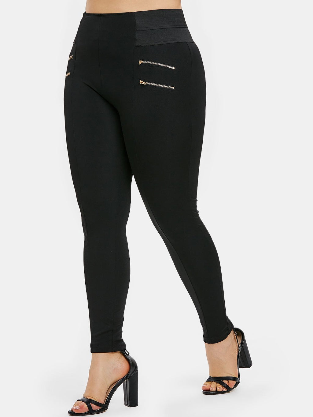 Plus Size Zips Embellished Elastic Waist Leggings