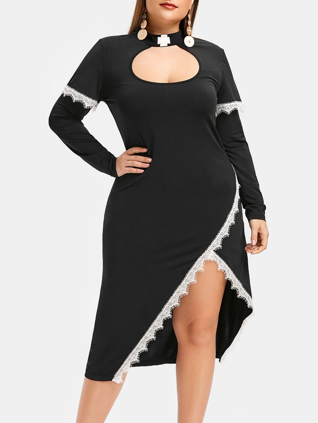Plus Size Cut Out Eyelash Lace Halloween Dress