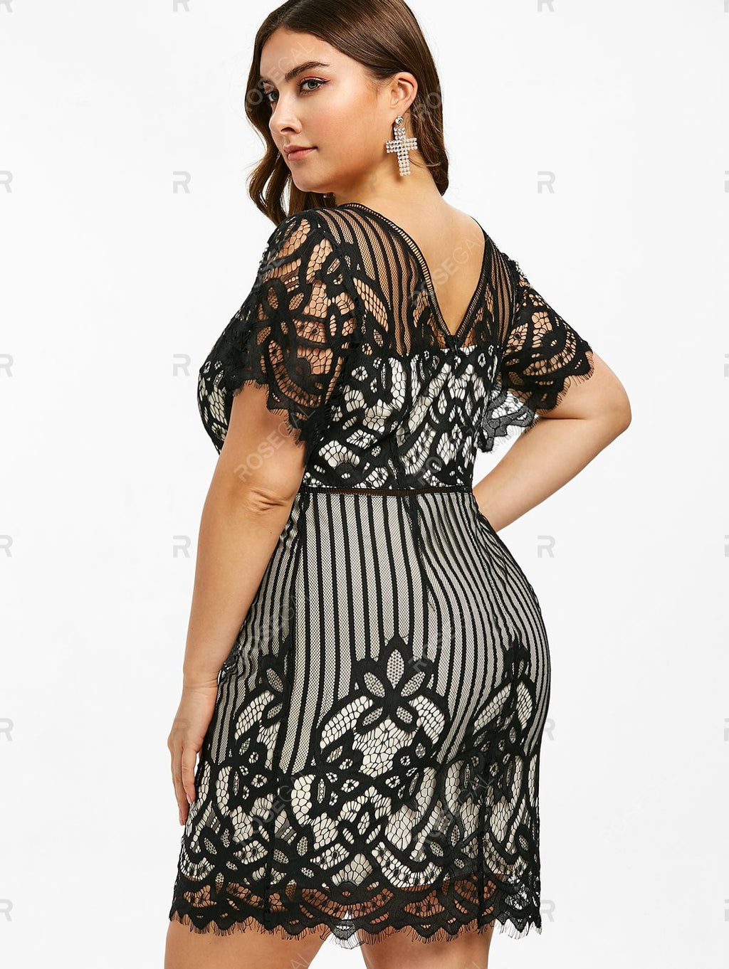 Lace Eyelash Plus Size Plunge Short Dress