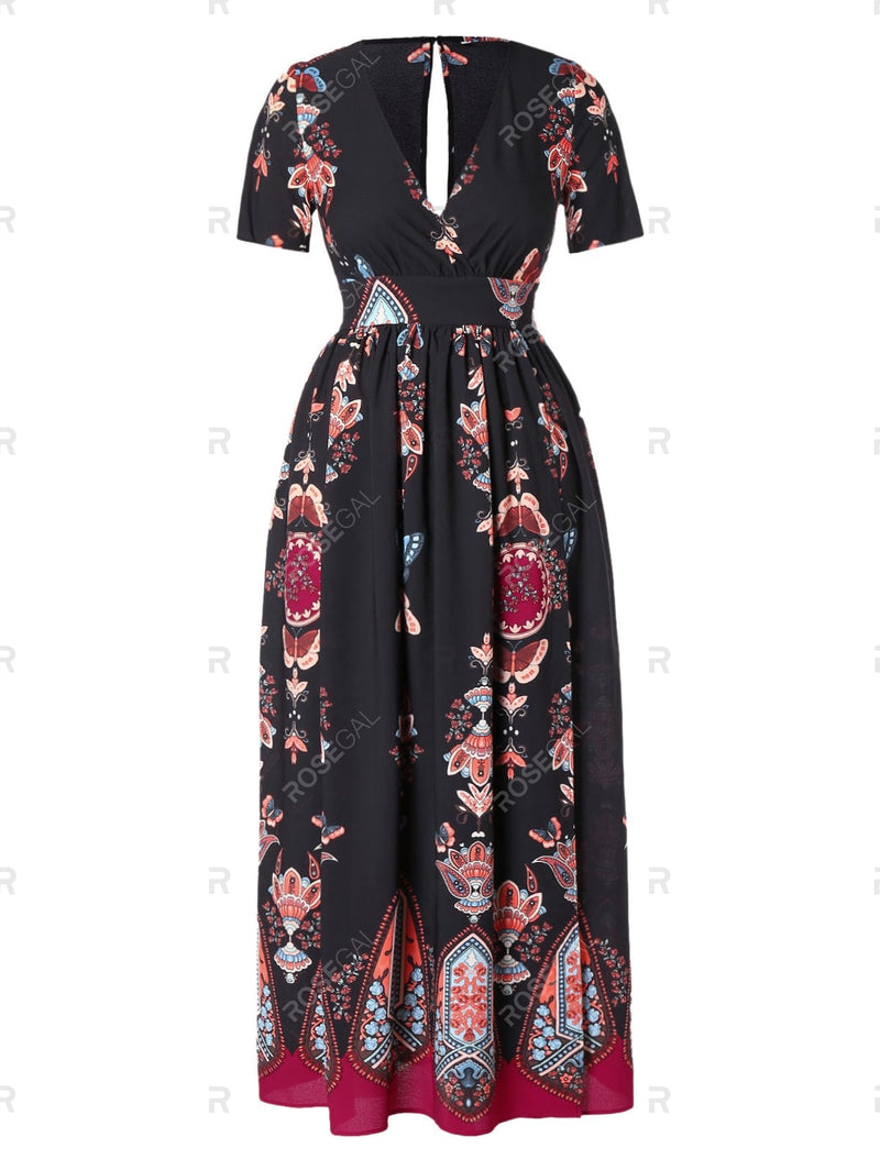 Plus Size High Waist Maxi Slit Dress