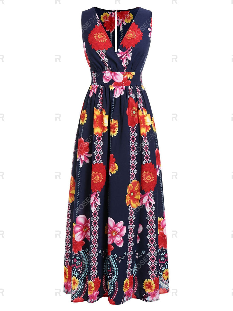 Plus Size Floral Print Plunge Maxi Dress