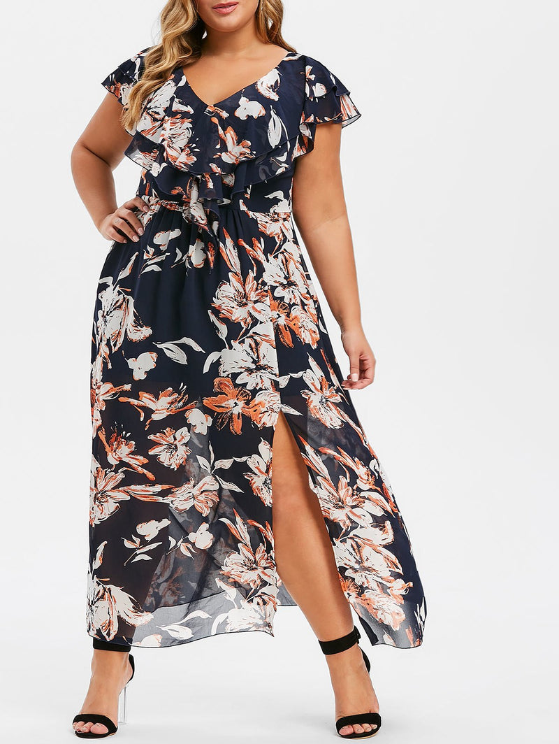 Plus Size Flower Slit V Neck Maxi Dress