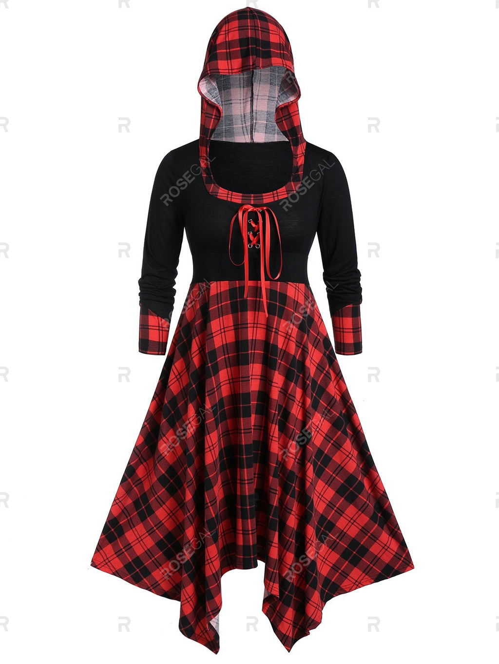 Plus Size Handkerchief Hooded Plaid Midi Dress