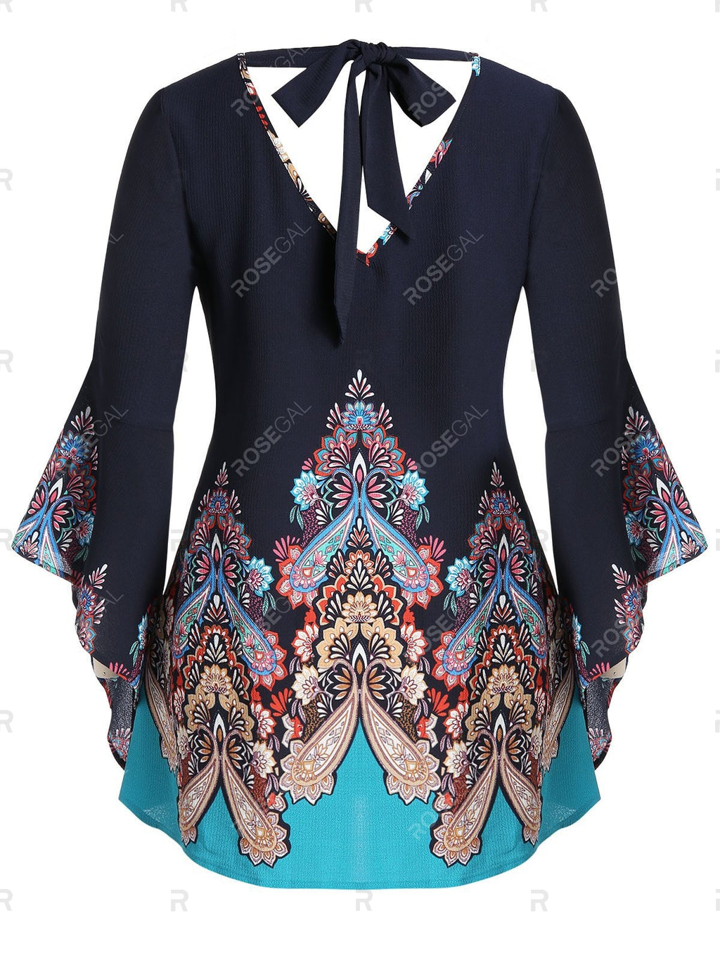 Plus Size Tribal Print Back Tie Flare Sleeve Blouse Top