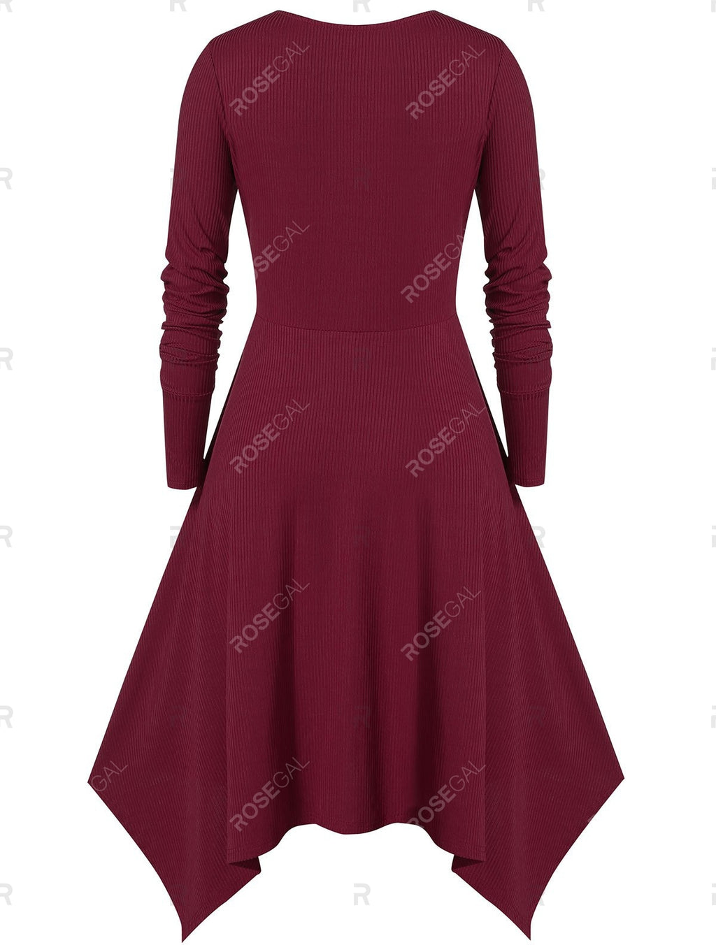 Plus Size Asymmetric Long Sleeve Lace UP Dress