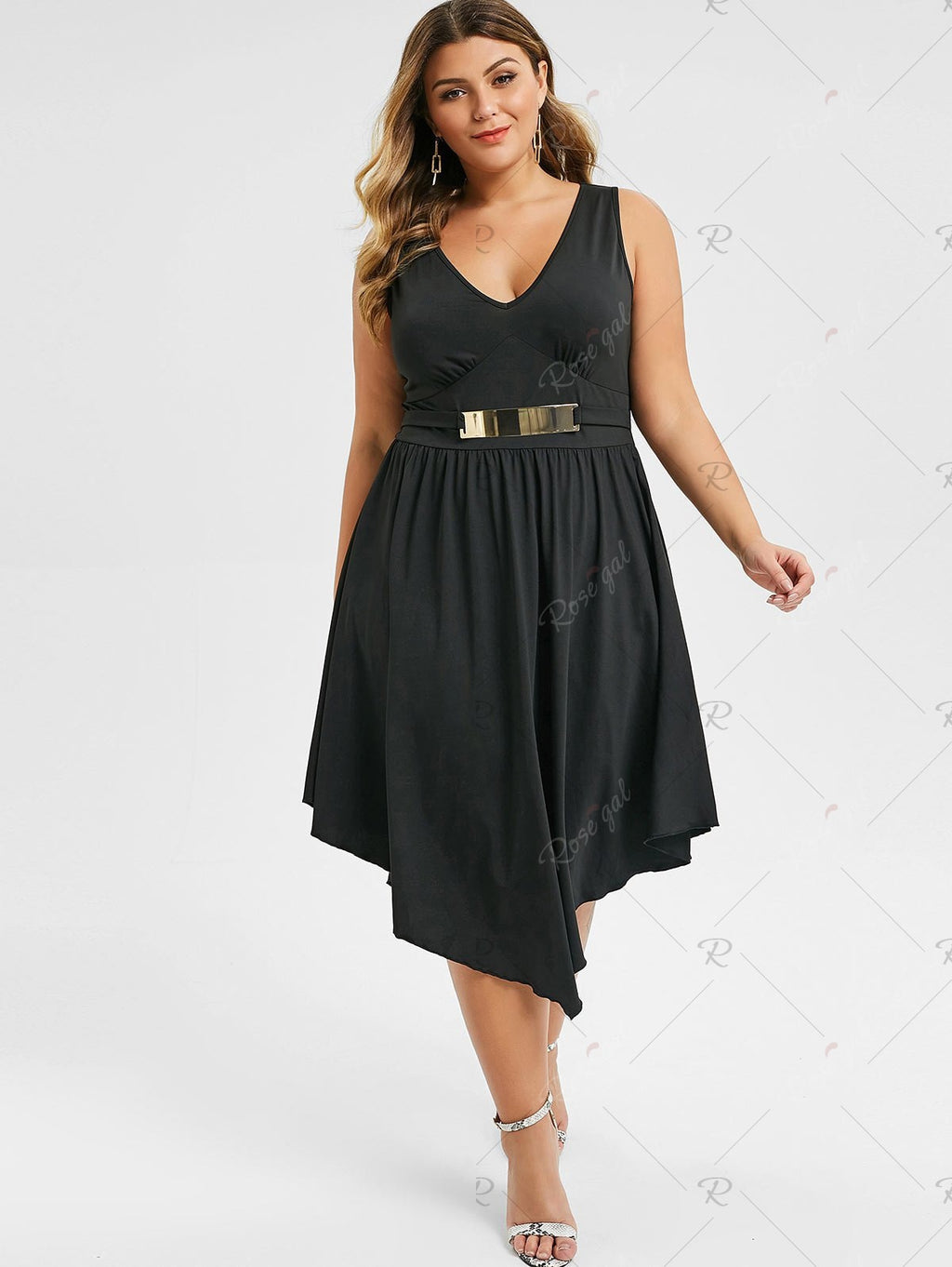Plus Size Plunging Neck Asymmetrical Sleeveless Dress