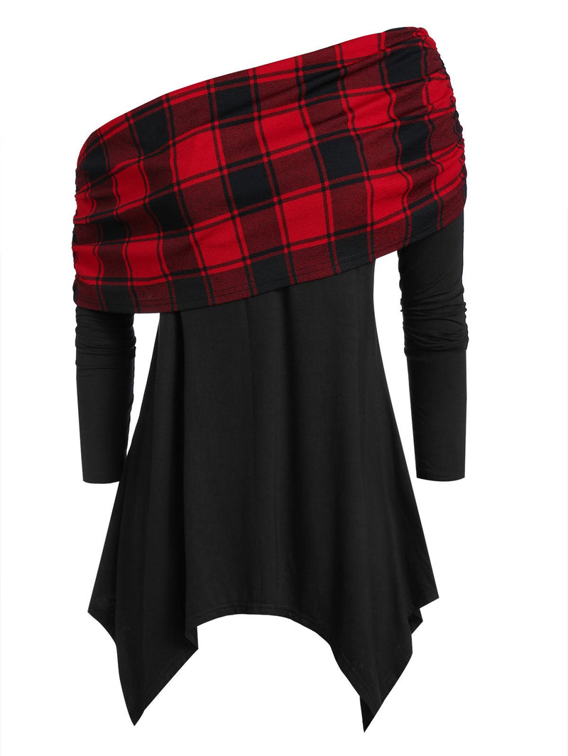 Plus Size Checked Panel Asymmetrical Skew Neck T Shirt