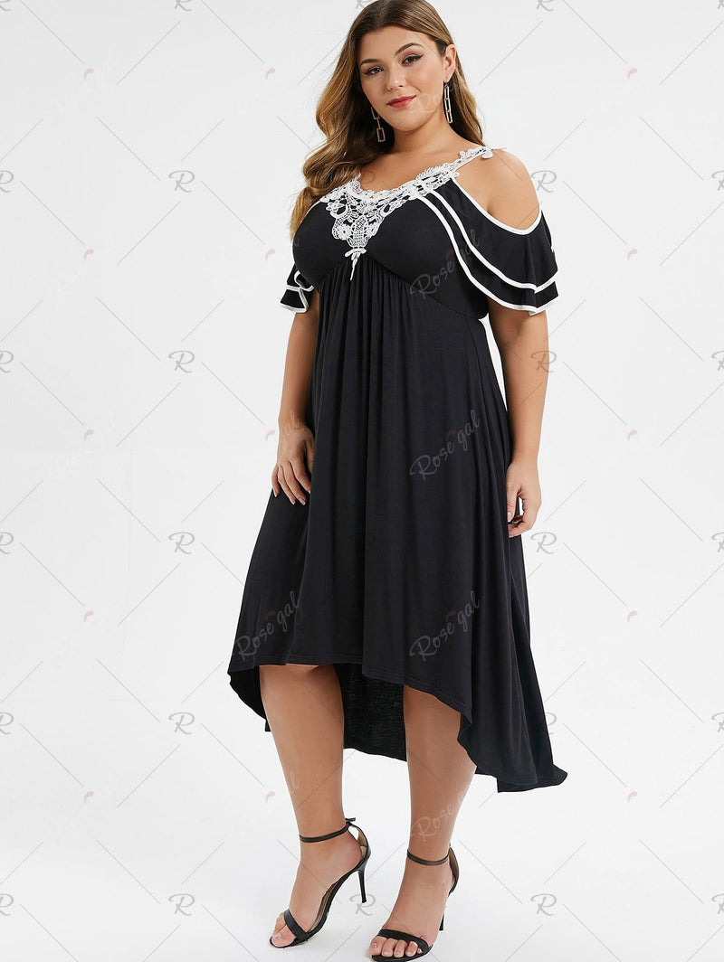 Plus Size Cold Shoulder Contrast Lace High Low Midi Dress
