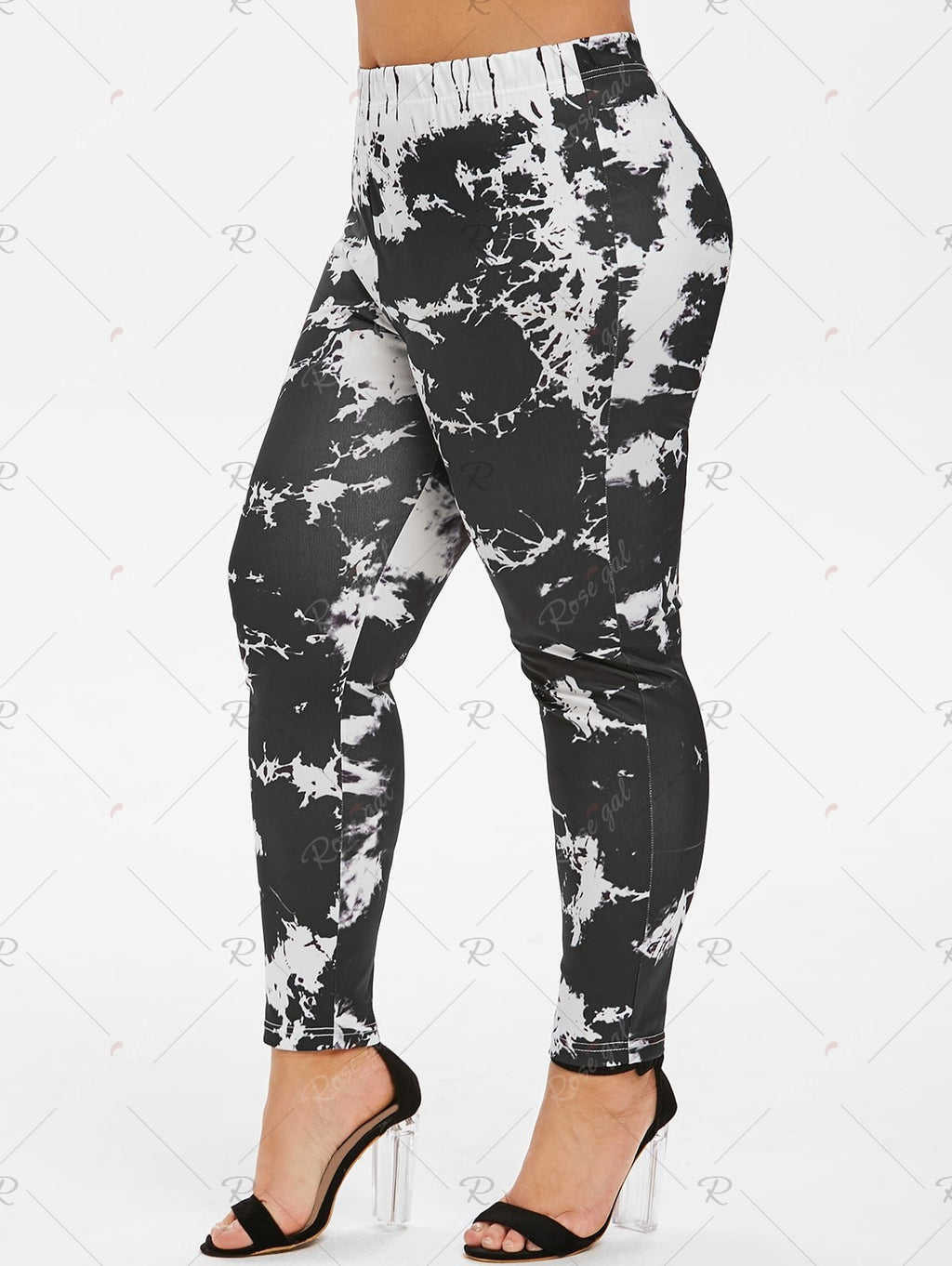 Marble Print High Waisted Skinny Plus Size Pants