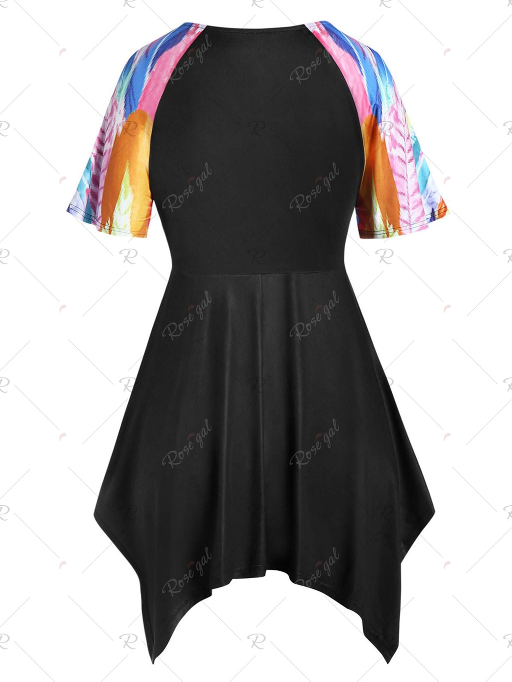 Plus Size Feather Print Asymmetric Handkerchief Cinched Top