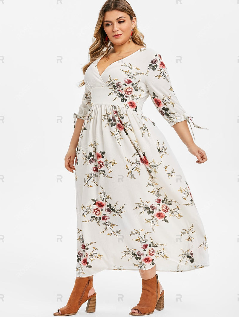 Plus Size Plunge Tie Sleeve Floral Maxi Dress