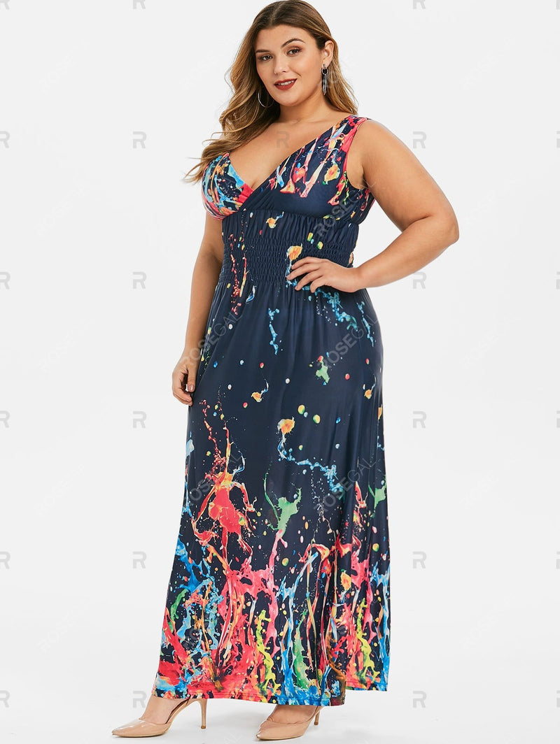 Plus Size Splash Painting Smocked Waist Plunging Dress