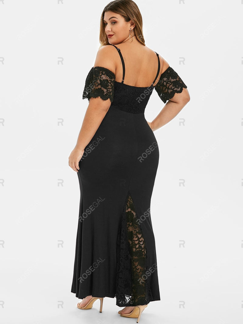 Plus Size Lace Panel Cold Shoulder Long Mermaid Dress
