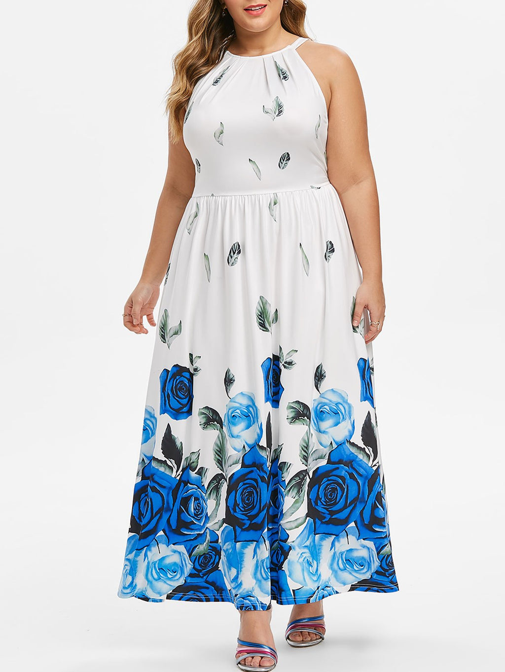 Ladies Womens Plus Size Tie Back Sleeveless Floral Print Long Summer Maxi Dress
