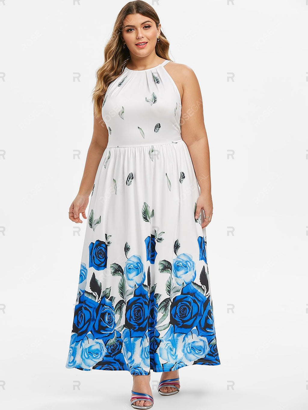 Plus Size High Waist Floral Print Maxi Dress