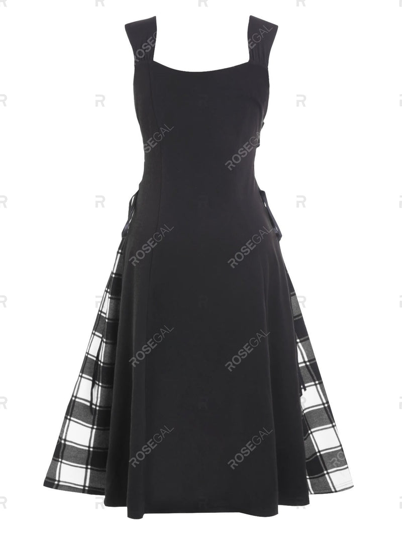 Plus Size Plaid Panel Sweetheart Neck Vintage Dress