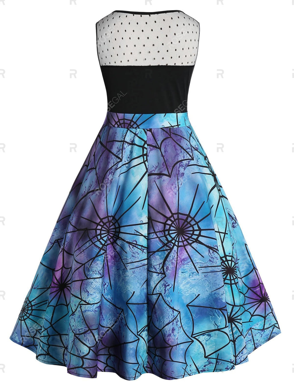 Spider Web Print Vintage Halloween Party Dress