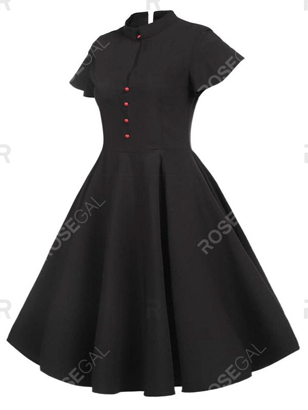 Plus Size Vintage Buttons 1950s Party Swing Dress