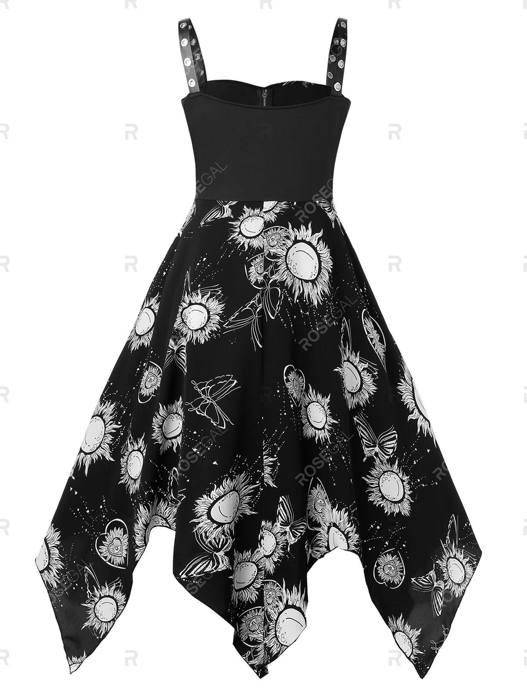 Plus Size Halloween Grommets Sun Print Gothic Dress