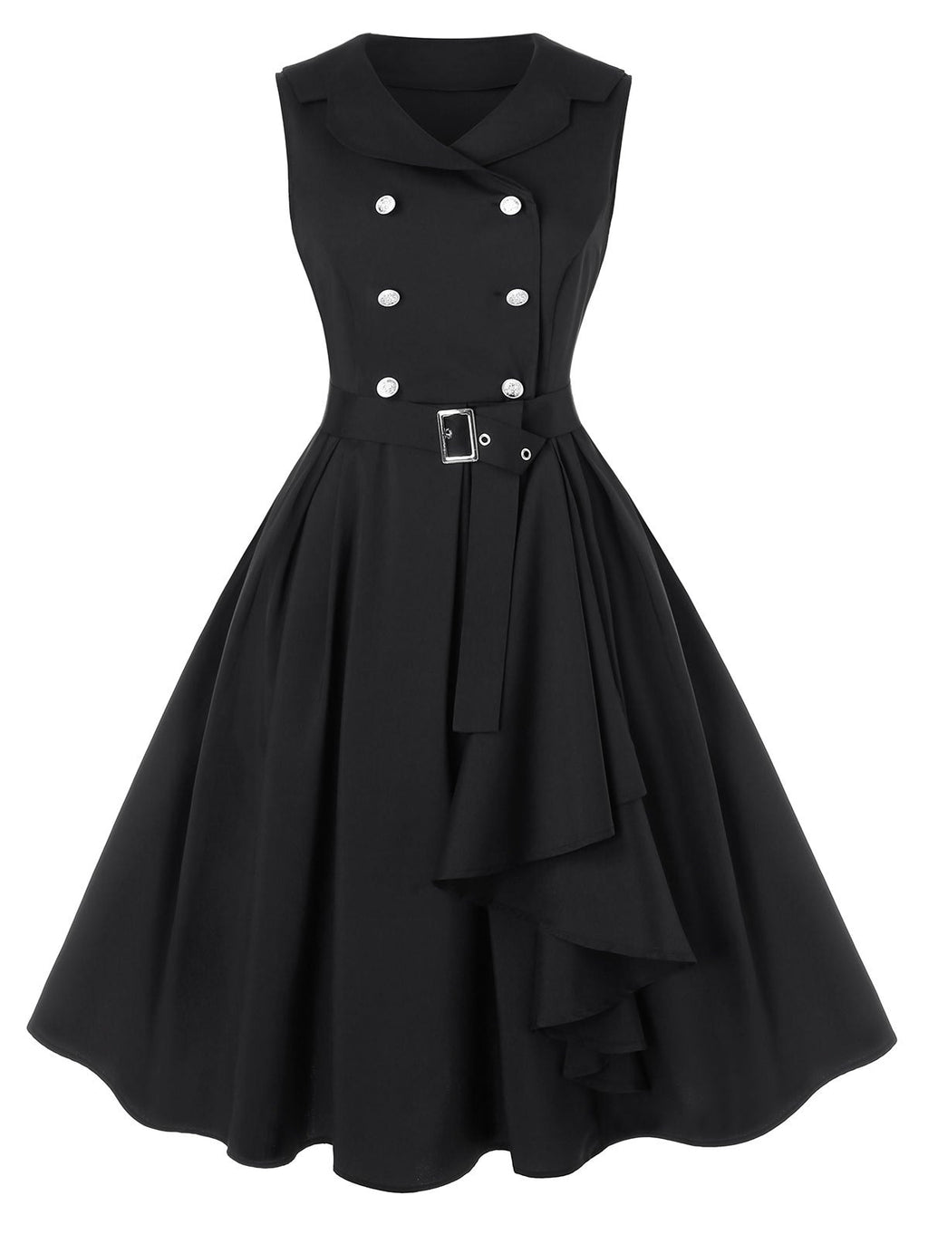 Plus Size A Line Turn-down Collar Vintage Dress with Belt