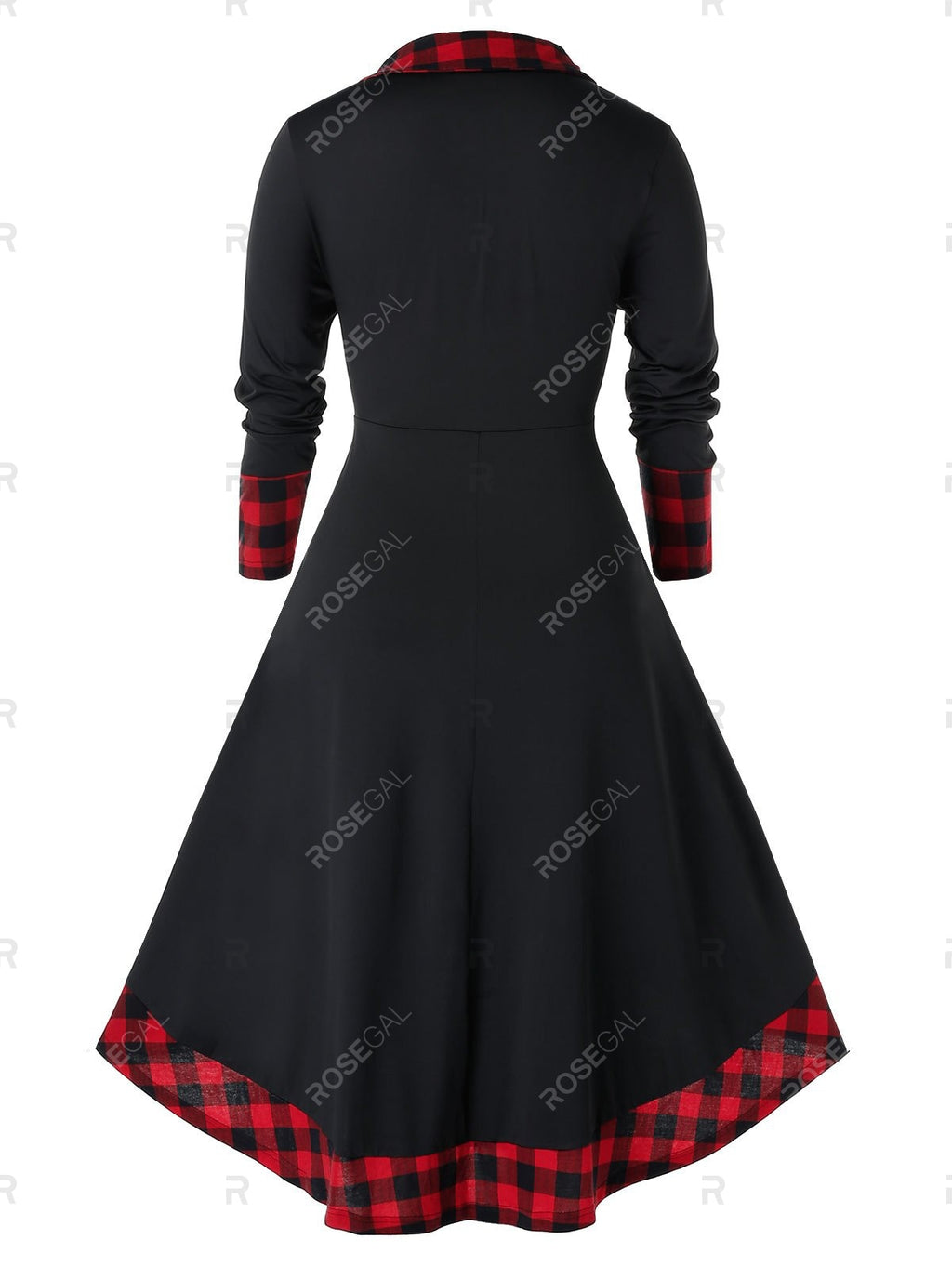 Plus Size High Low Plaid Midi Flare Dress
