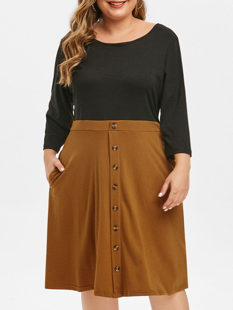 Plus Size Two Tone Button Embellished Dress
