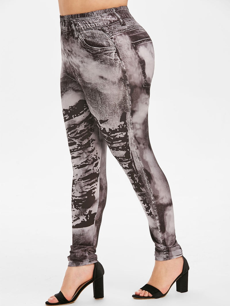 Pull On Faded 3D Printed High Waisted Plus Size Jeggings