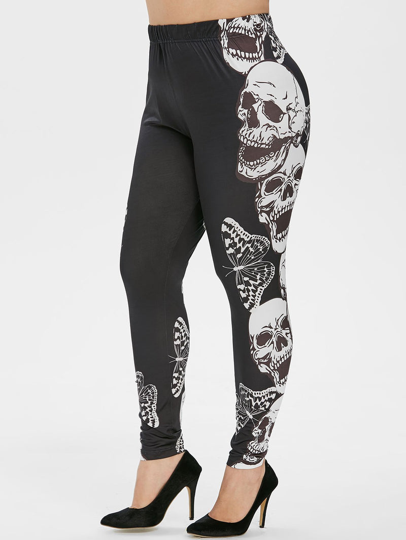 Plus Size Butterfly Skull Print Gothic Halloween Leggings