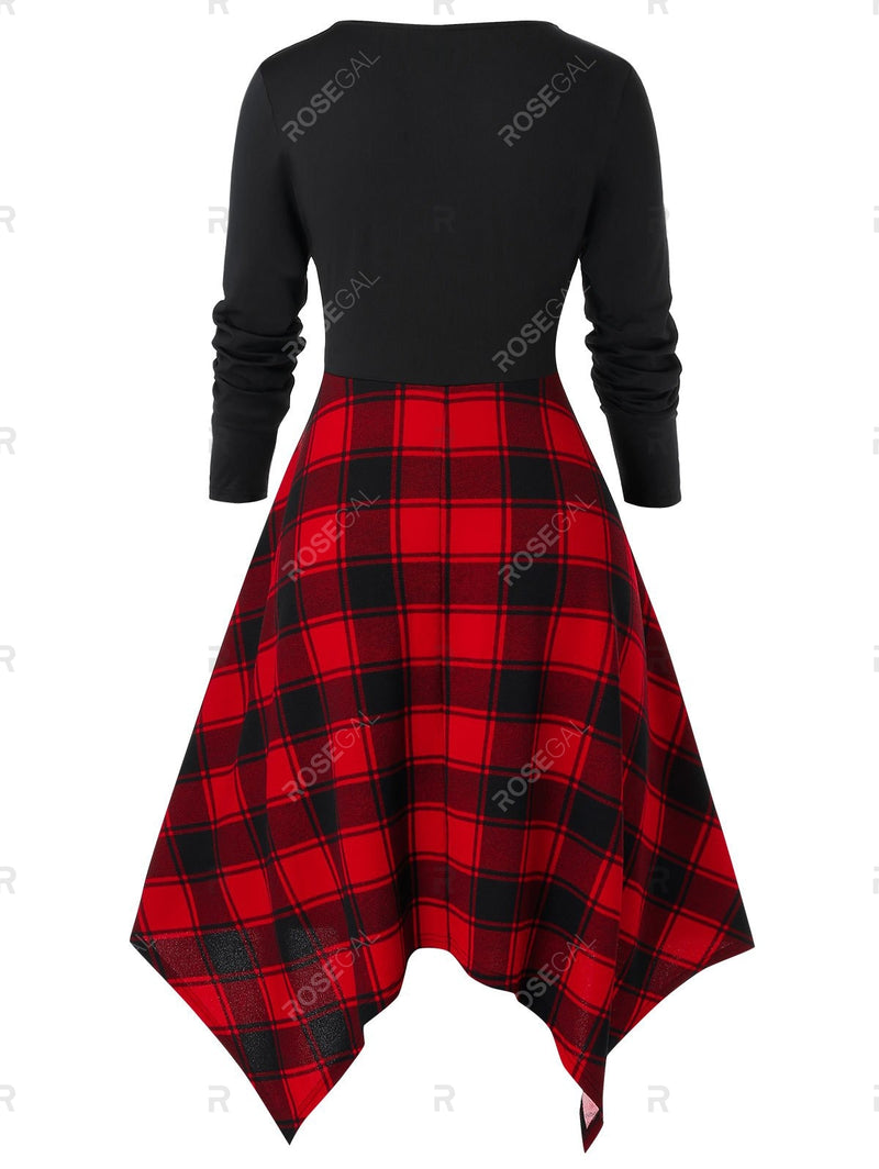 Plus Size Plaid Panel Sweetheart Collar Bowknot Dress