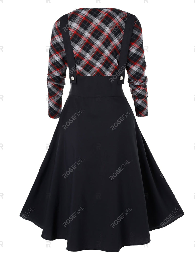 Plus Size High Waist Checked Panel Fit And Flare Dress