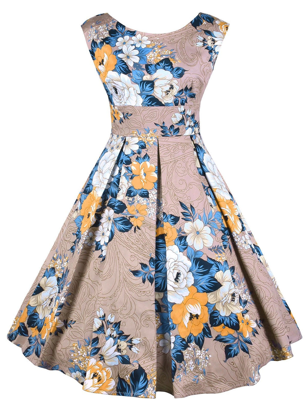 Plus Size Floral V Back High Waisted Dress