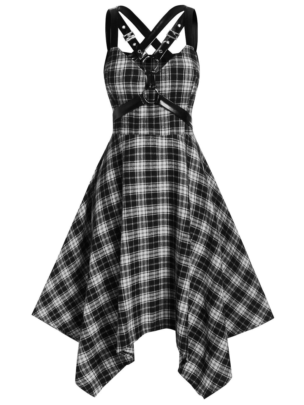 Plus Size Handkerchief Plaid Harness Gothic Dress