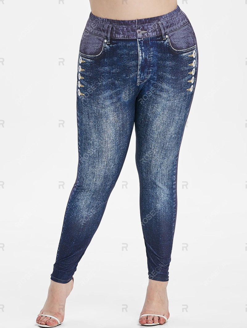 Plus Size High Waist 3D Jean Print Jeggings