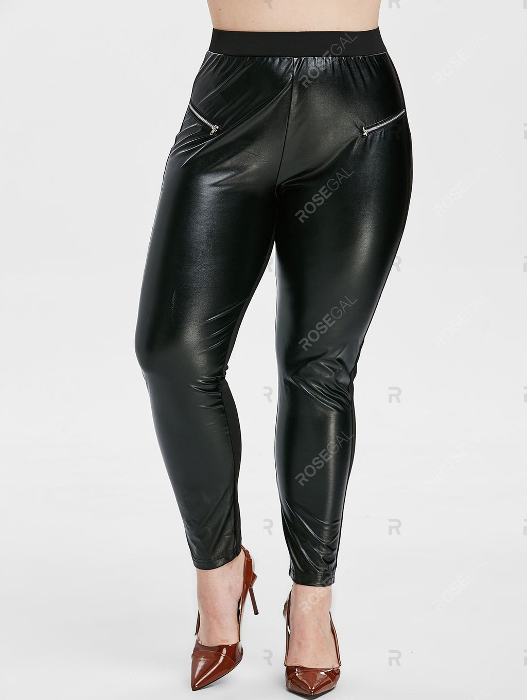 Plus Size PU Splicing Zipper Leggings