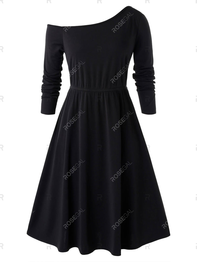 Plus Size Skew Neck A Line Dress With Belted Top Set