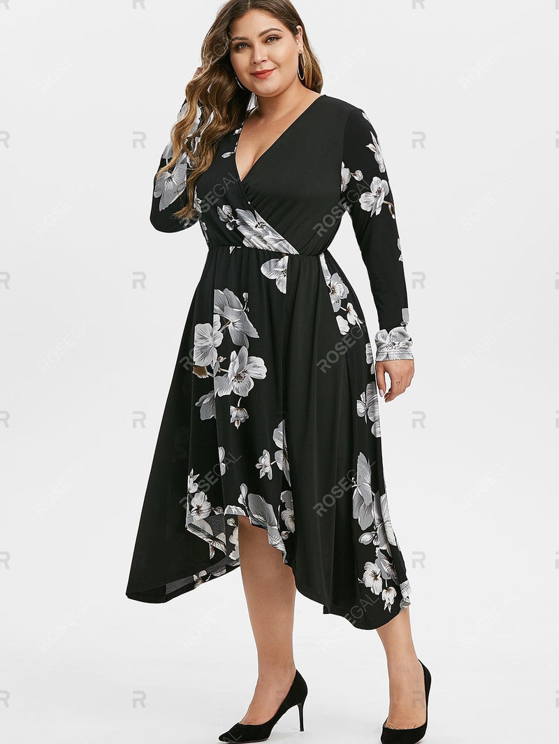 Plus Size Flower Asymmetrical Surplice Dress