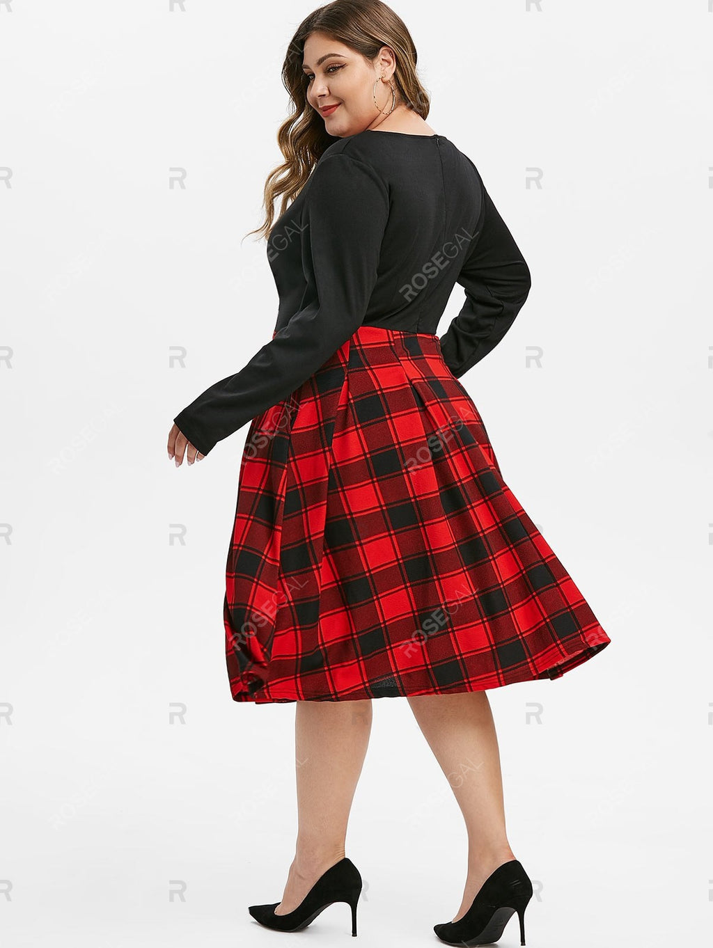 Back Zipper Long Sleeve Contrast Plaid Stripes Plus Size Dress