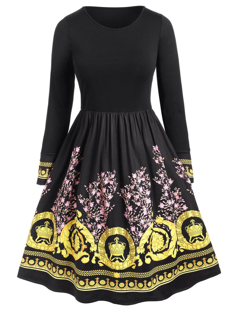 Plus Size Floral Ethnic Print Flare Dress