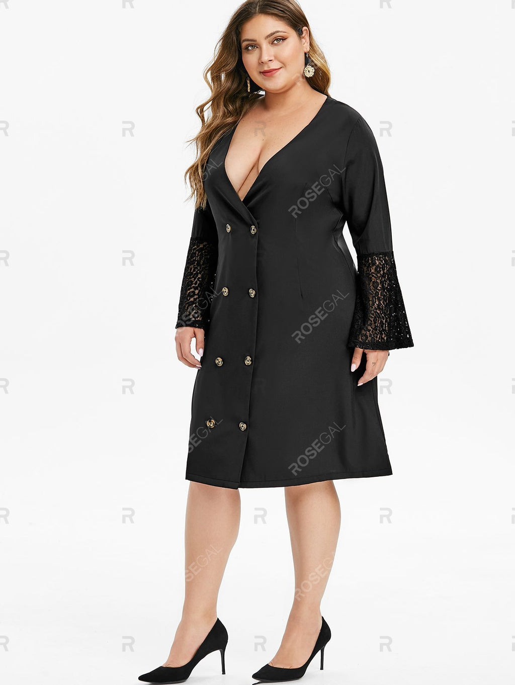 Plus Size Lace Flare Sleeve Plunging Knee Length Dress