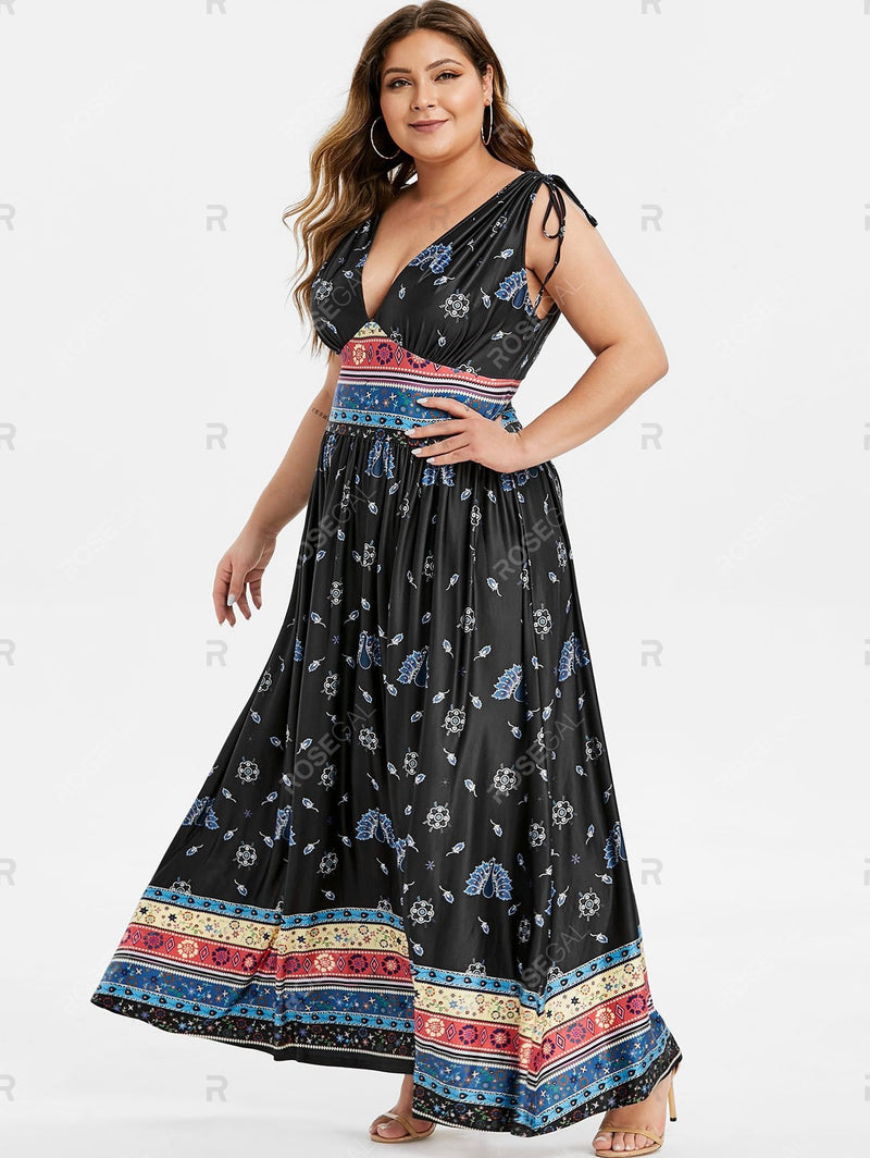 Plus Size Flower Peacock Print Plunging Cinched Maxi Dress