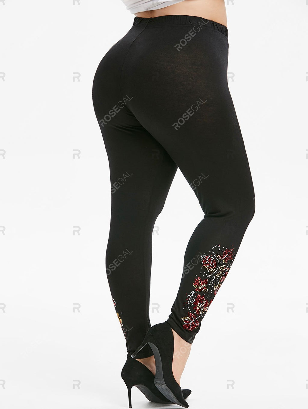 High Waisted Sparkle Rhinestone Plus Size Leggings