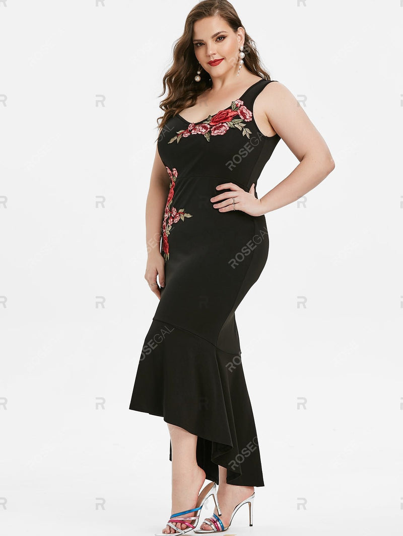 Plus Size High Low Embroidered Fishtail Party Dress