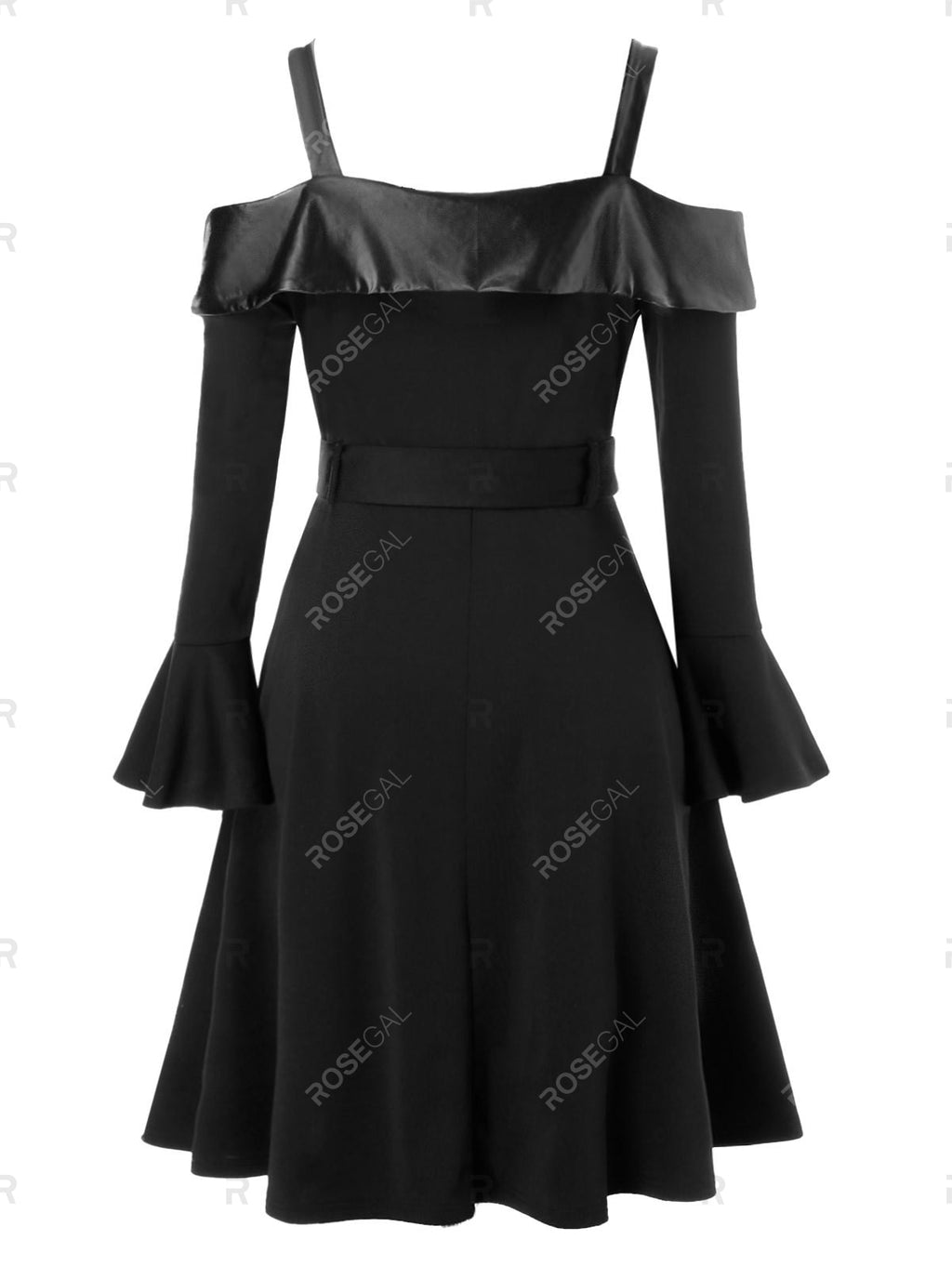 Plus Size Ruffle Cuff Cold Shoulder Mock Button Belted Dress
