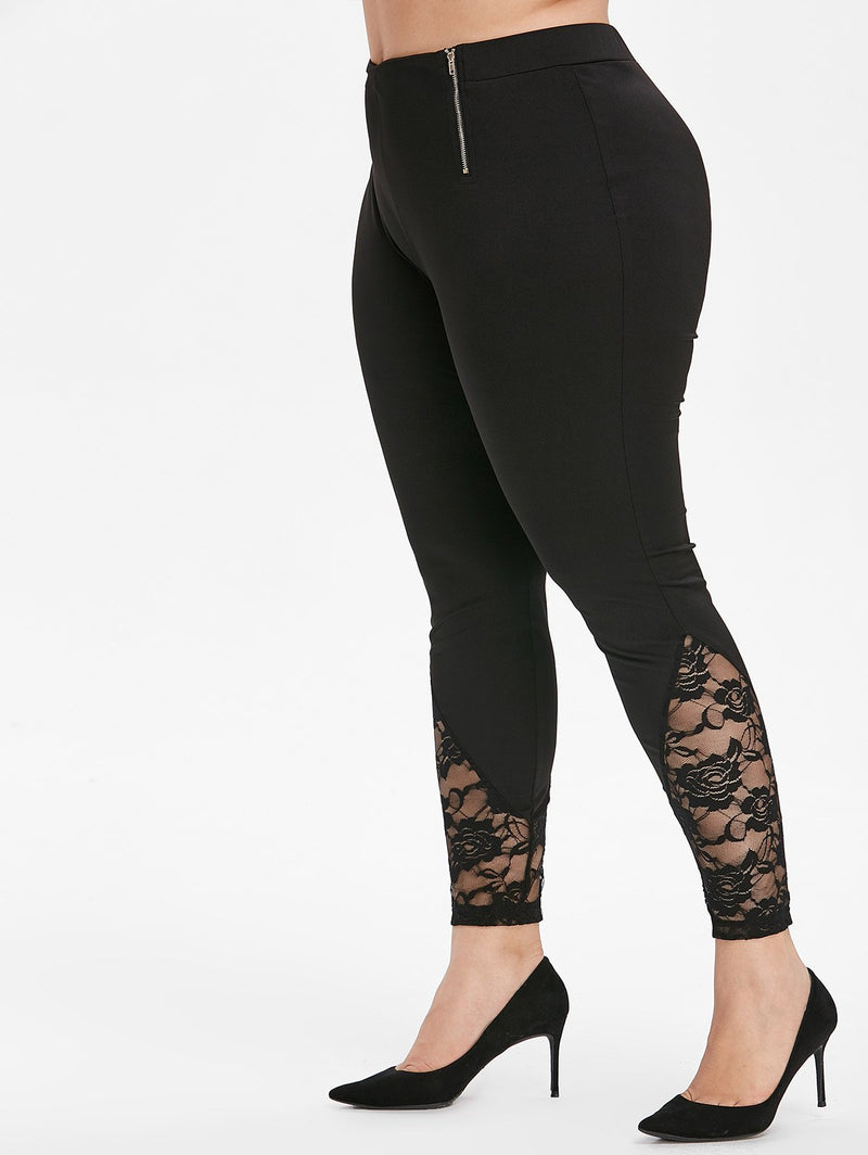 Plus Size Lace Panel Zippered Leggings
