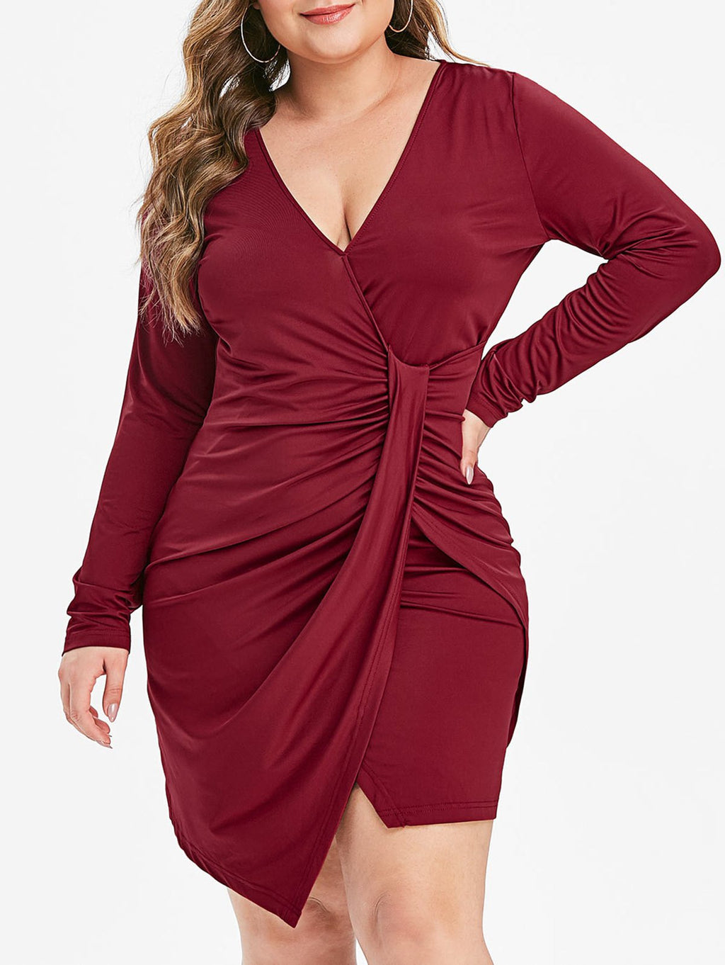Plus Size Ruched Overlap Long Sleeve Sheath Dress