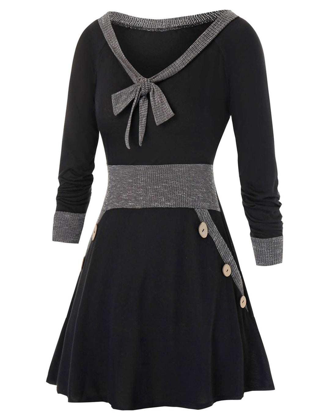 Plus Size Fit And Flare Bowknot Collar Two Tone Dress