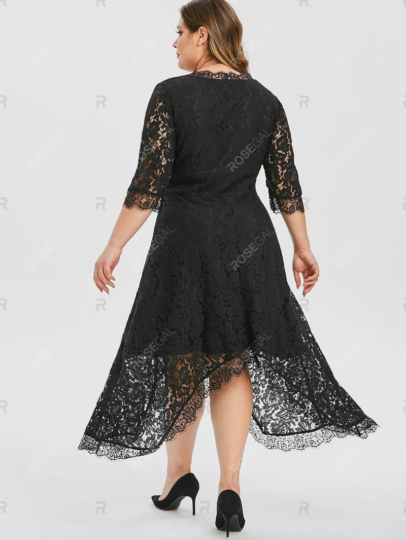 Plus Size Handkerchief Lace Evening Dress