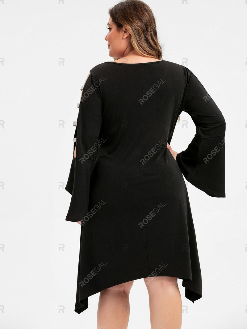 Plus Size Asymmetric Flare Sleeve Ladder Cut Dress