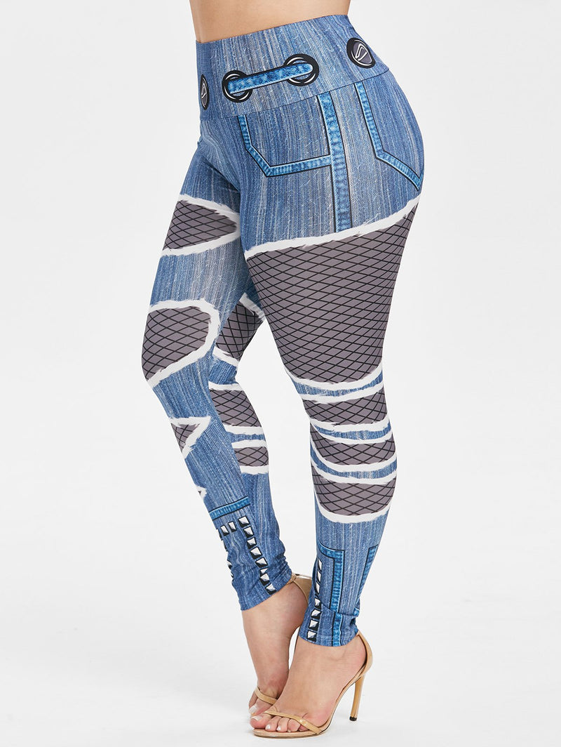 Plus Size Fishnet Destroyed 3D Print Skinny Jeggings