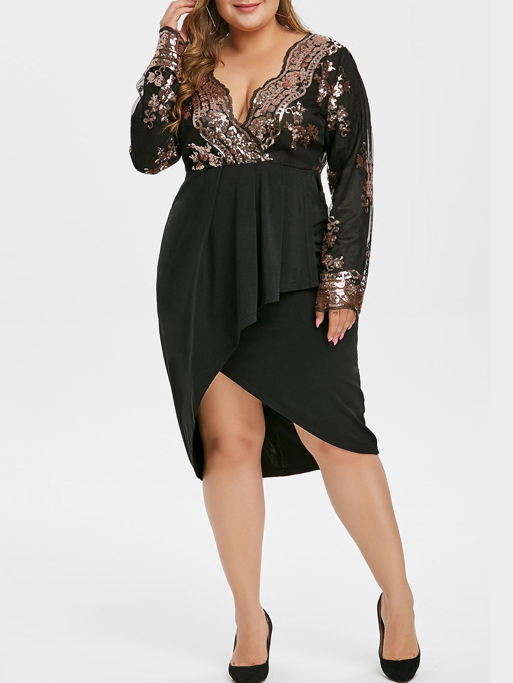 Plus Size Sequined Asymmetric Overlap Dress